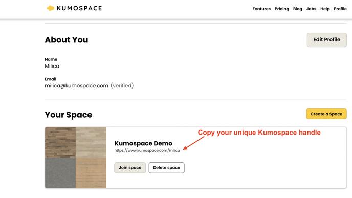 kumospace handle screenshot